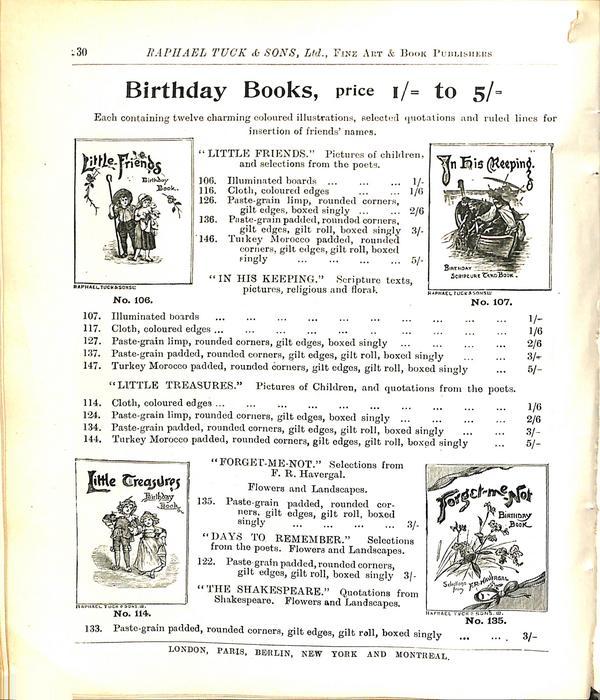 BIRTHDAY BOOKS, PRICE 1/= TO 5/=