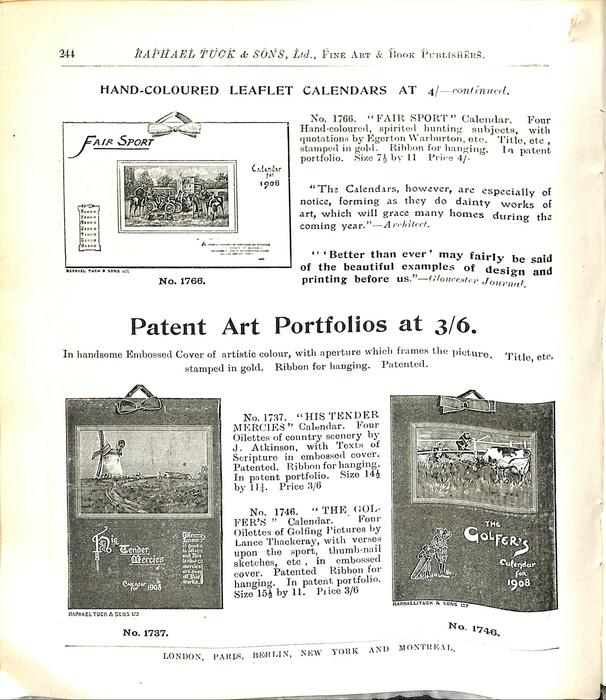 HAND-COLOURED LEAFLET CALENDARS AT 4/- CONTINUED
