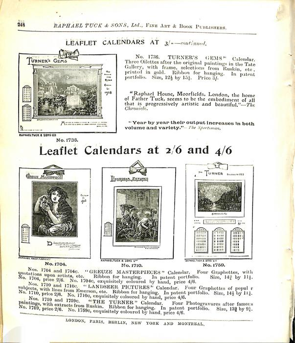 LEAFLET CALENDARS AT 3/- CONTINUED