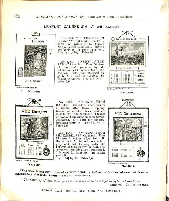 LEAFLET CALENDARS AT 2/6 - CONTINUED