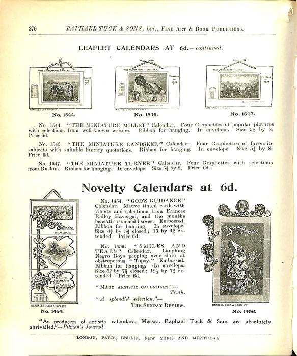 LEAFLET CALENDARS AT 6D. - CONTINUED
