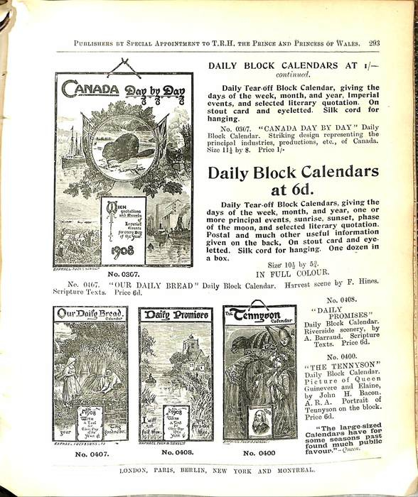 DAILY BLOCK CALENDARS AT 1/- CONTINUED