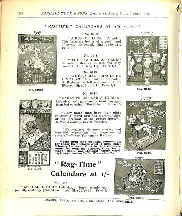 """RAG TIME"" CALENDARS AT 1/6 - CONTINUED"