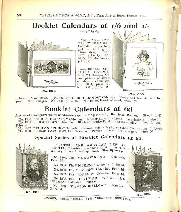 BOOKLET CALENDARS AT 1/6 1/-