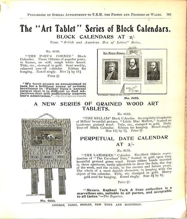 "THE ""ART TABLET"" SERIES OF BLOCK CALENDARS"