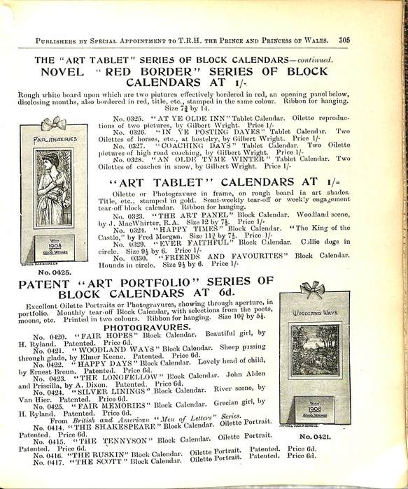 """THE """"ART TABLET"""" SERIES OF BLOCK CALENDARS - CONTINUED"""