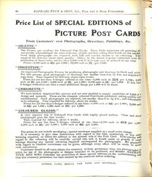 PRICE LIST OF SPECIAL EDITIONS OF PICTURE POST CARDS