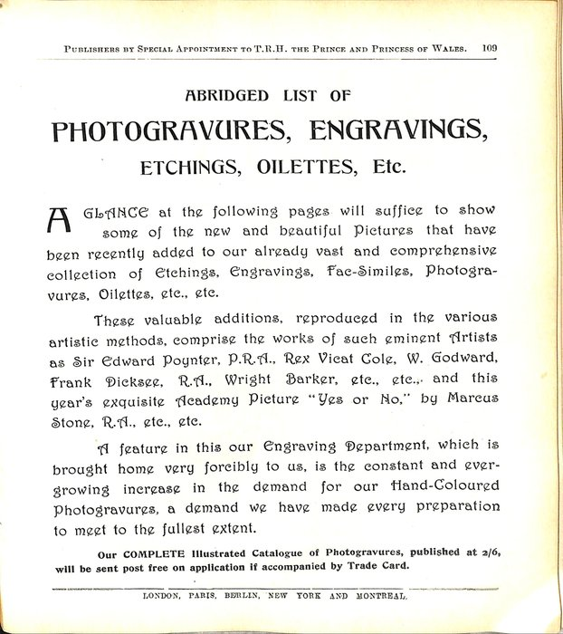 ABRIDGED LIST OF PHOTOGRAVURES, ENGRAVINGS, ETCHINGS, OILETTES, ETC.