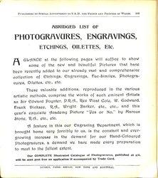 ABRIDGED LIST OF PHOTOGRAVURES, ENGRAVINGS, ETCHINGS, OILETTES, ETC.