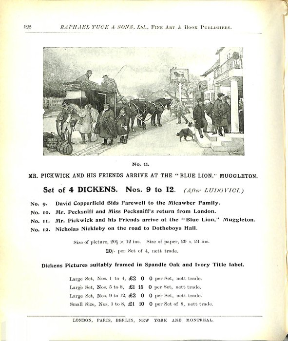 """MR. PICKWICK AND HIS FRIENDS ARRIVE AT THE """"BLUE LION,"""" MUGGLETON."""