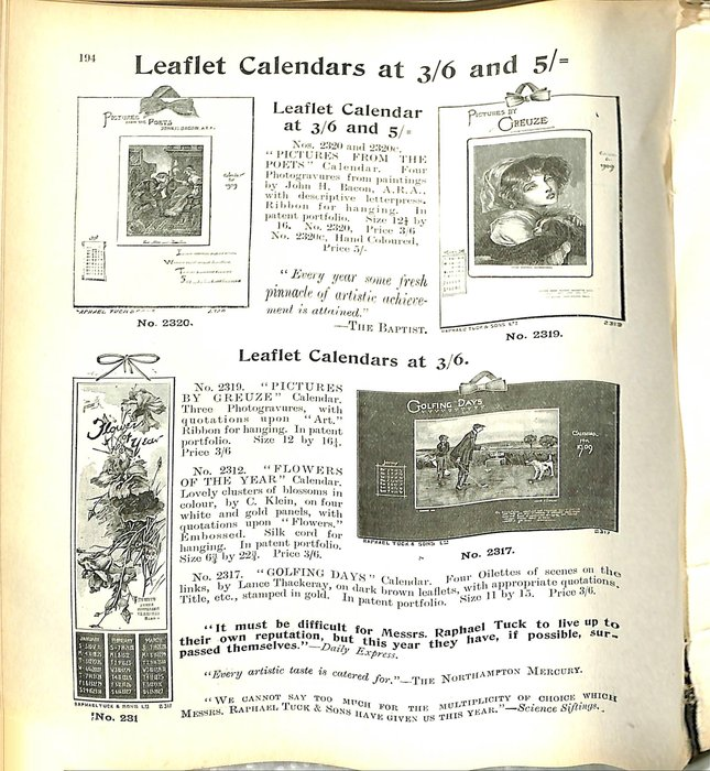LEAFLET CALENDARS AT 3/6 AND 5/=