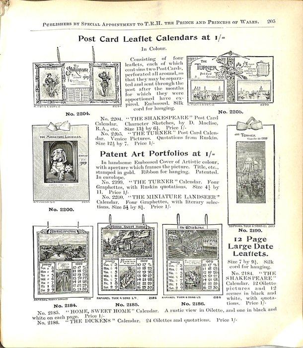 POST CARD LEAFLET CALENDARS AT 1/=
