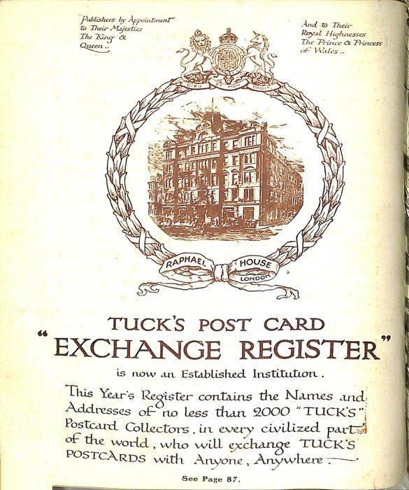 "TUCK'S POST CARD ""EXCHANGE REGISTER"""