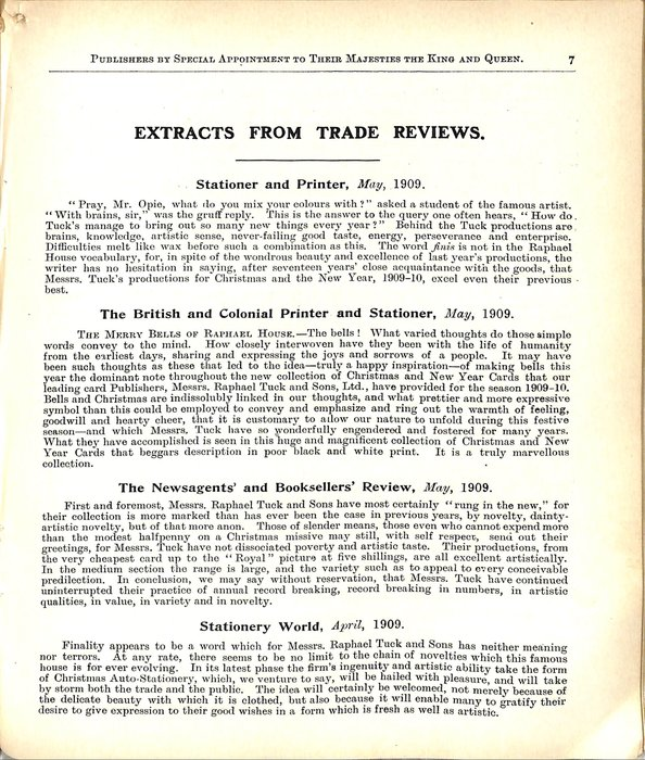 EXTRACTS FROM TRADE REVIEWS