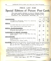 PRICE LIST FOR SPECIAL EDITIONS OF PICTURE POST CARDS