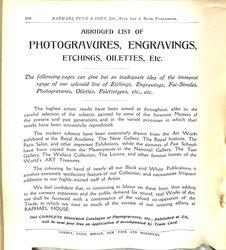 ABRIDGES LIST OF PHOTOGRAVURES, ENGRAVINGS, ETCHINGS, OILETTES, ETC.