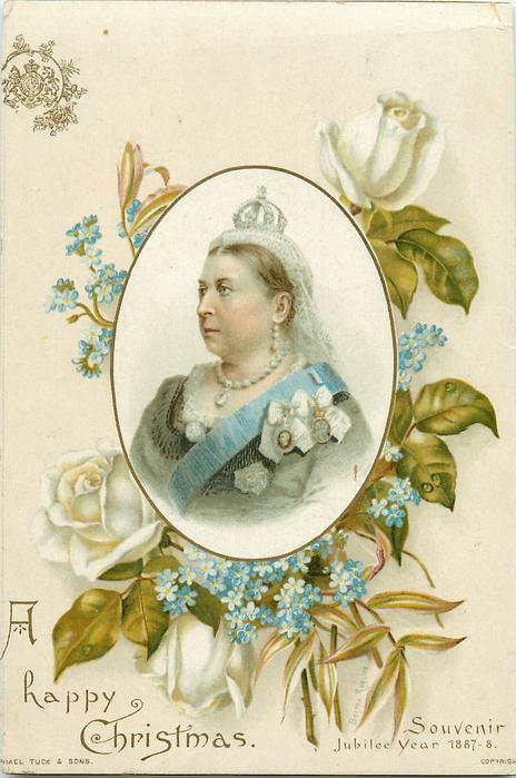 oval inset of Queen Victoria into floral bouquet of blue and white flowers-card trimmed
