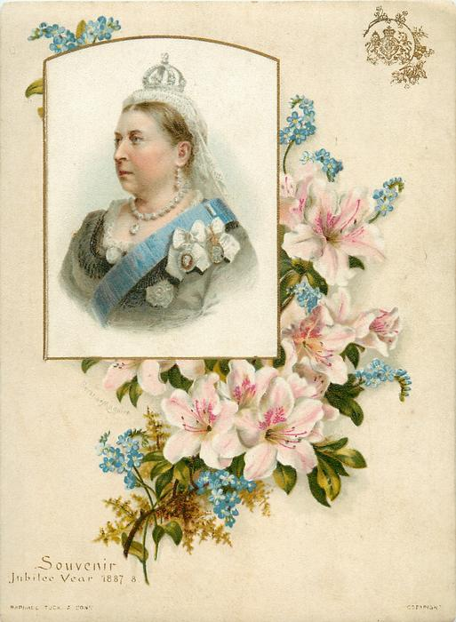 rectangular curved top inset of Queen Victoria into floral bouquet of pink and blue flowers