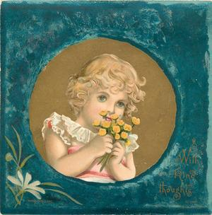 girl in pink dress with white frilly collar holding bouquet of yellow flowers inset onto blue background