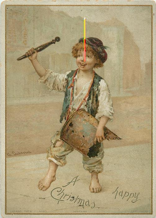 street urchin boy bangs on an old metal barrel for a drum