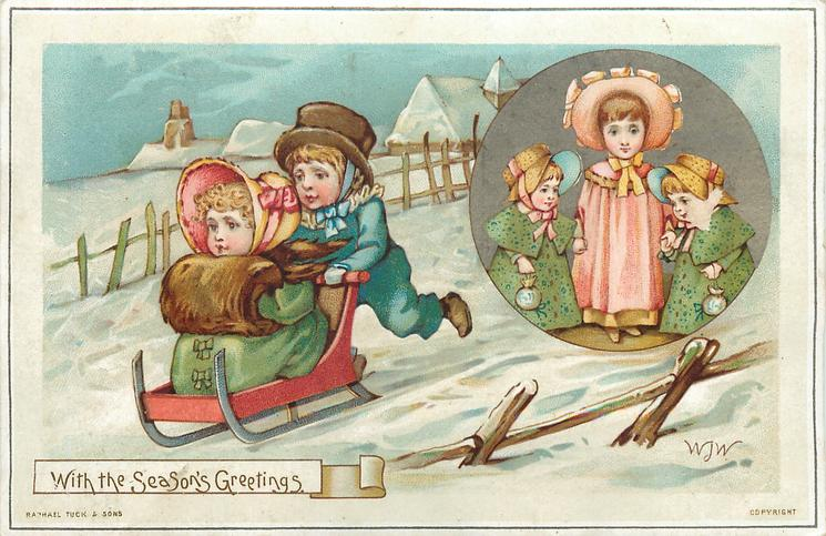 boy pushes girl on toboggan, circular inset of girl wearing pink dress and two girls in green dresses
