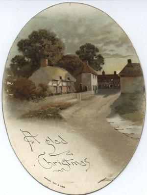 village lane with buildings left behind fence, at end of lane, and to right