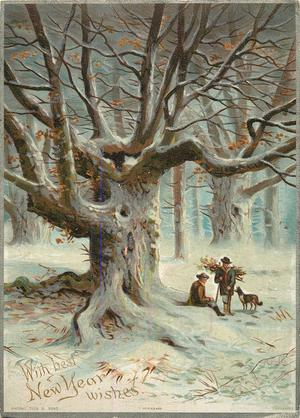 two men and dog rest underneath cover of large tree