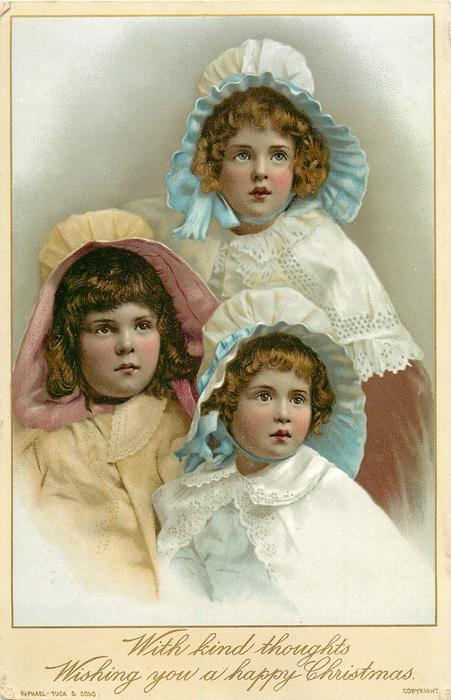 three young girls, two with blue bonnets and one in the middle with pink bonnet