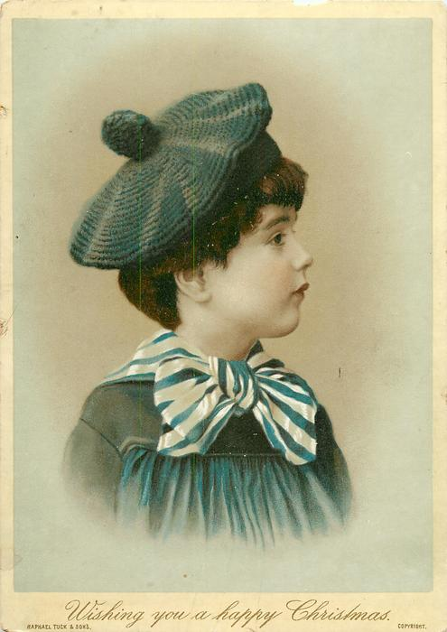 child in blue top, stripped blue and white collar, tam hat