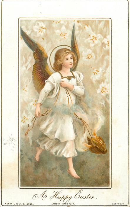angel walks and carries incense burner