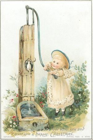 little girl at water well