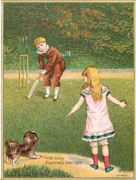 girl and boy play cricket