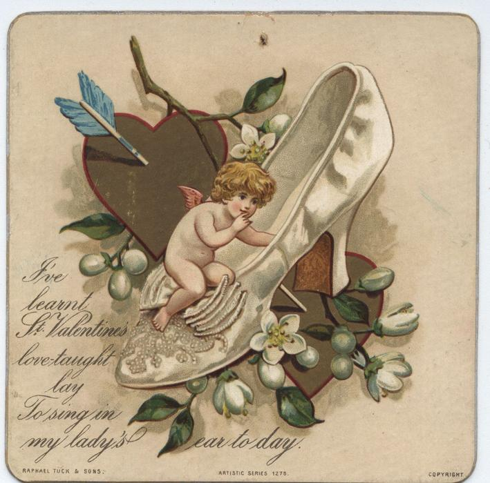cupid in a white shoe, two gold hearts and mistletoe branches