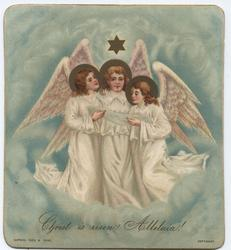 three angels on cloud background hold piece of paper