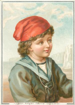 child in blue sailor shirt and red hat