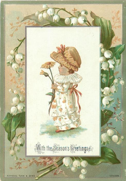 girl in white dress and light brown hat holds yellow flower and faces left, lily of the valley floral border