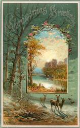 inset of two people fishing from shore into background of deer and trees in forest