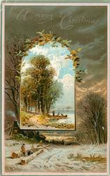 inset of people at boat on shore under large trees with background of two people by logs by house and trees