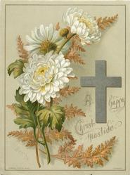 silver cross with white chrysanthemums and fern leaves