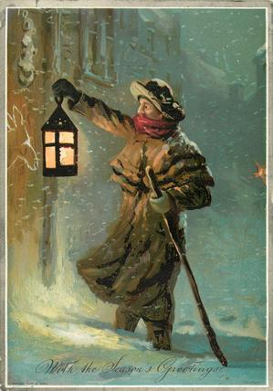 watchman with lantern and walking stick