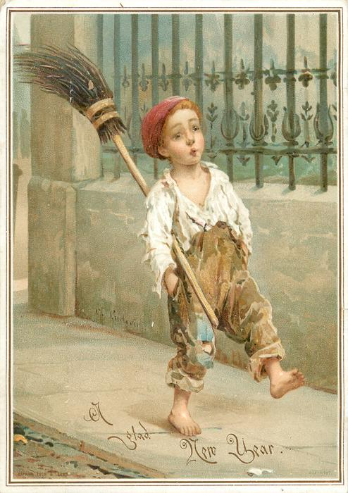 young boy walks whistling with broom under his arm