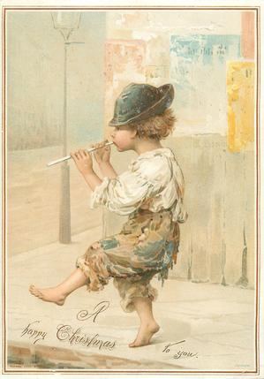 young boy walks and plays small pipe flute
