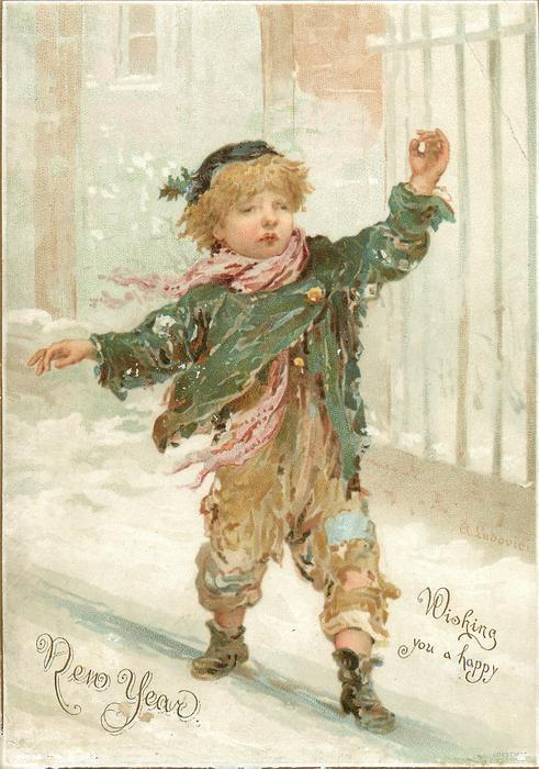 young boy in ragetty clothes walks and wind blows clothing