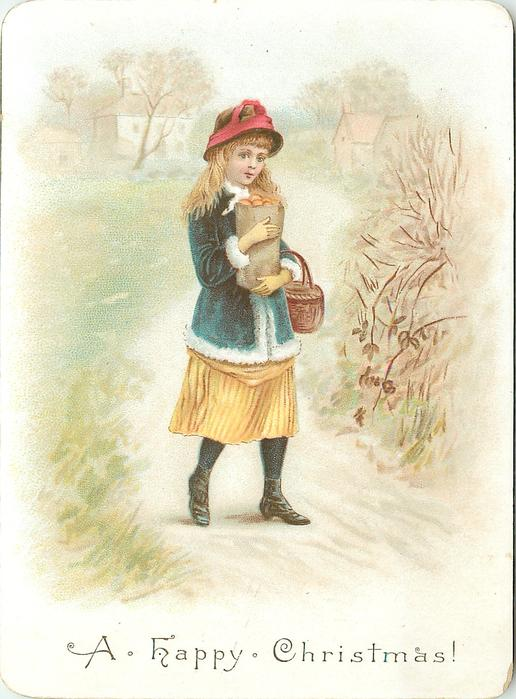 girl in blue coat and yellow dress carrying bag of buns and basket allong pathway