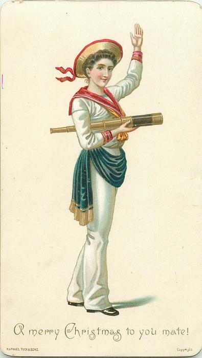 women in sailor suit with telescope under her arm