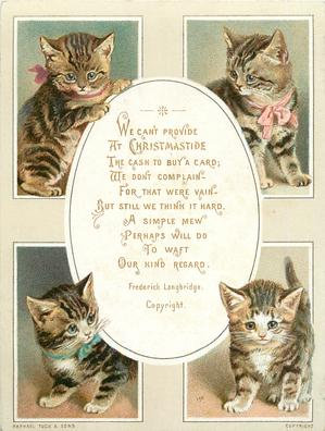four rectangular views of cats with oval centre for greeting