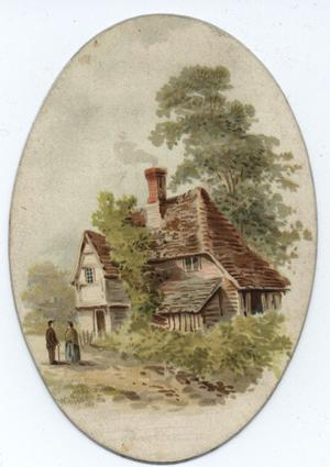 man and woman on road in front of house