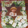 PEACE ON EARTH CALENDAR FOR 1904 angel in center with a star surrounding her with honeysuckle blooms