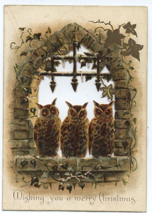 three owls sit on window sill, brick wall and ivy