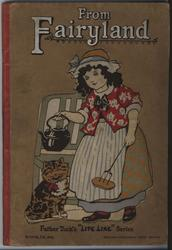 FROM FAIRYLAND young girl with kettle, roasting fork, and cat